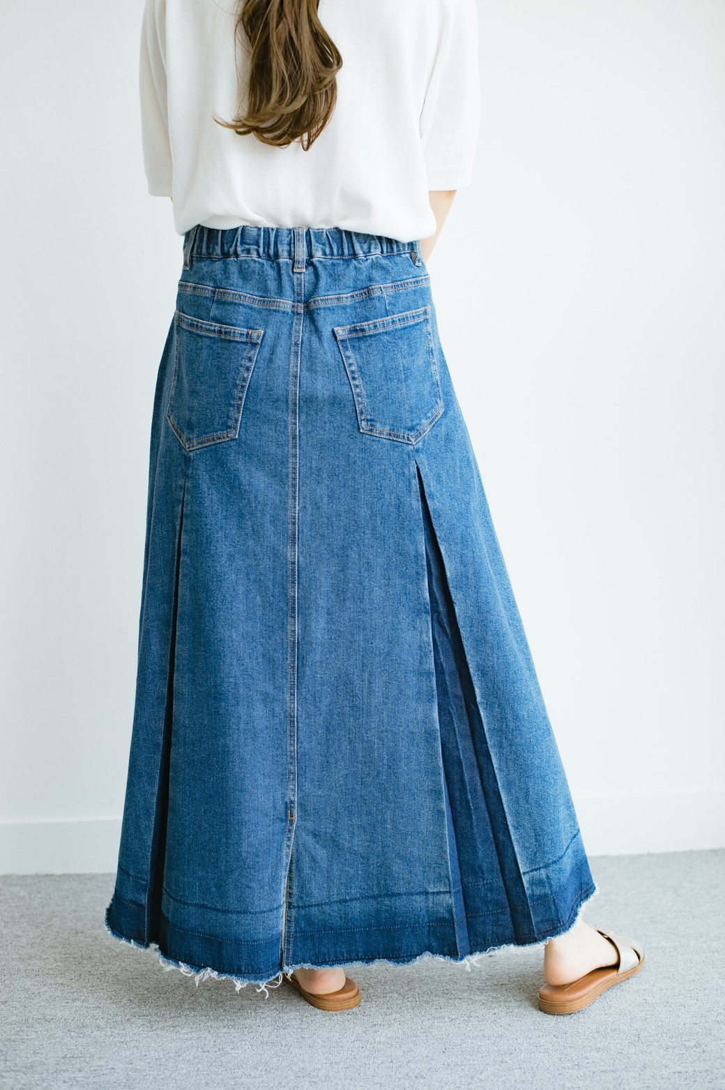 haco! 【新色登場&再入荷!】デニムパネルプリーツスカート <ブルー>の商品写真13