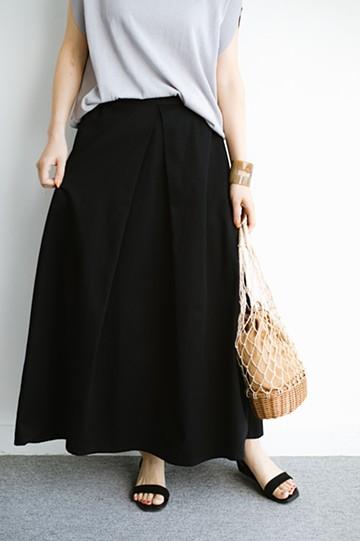 haco! 【今年も再販!】ロングシーズン楽しめる タックボリュームのチノロングスカート <ブラック>の商品写真