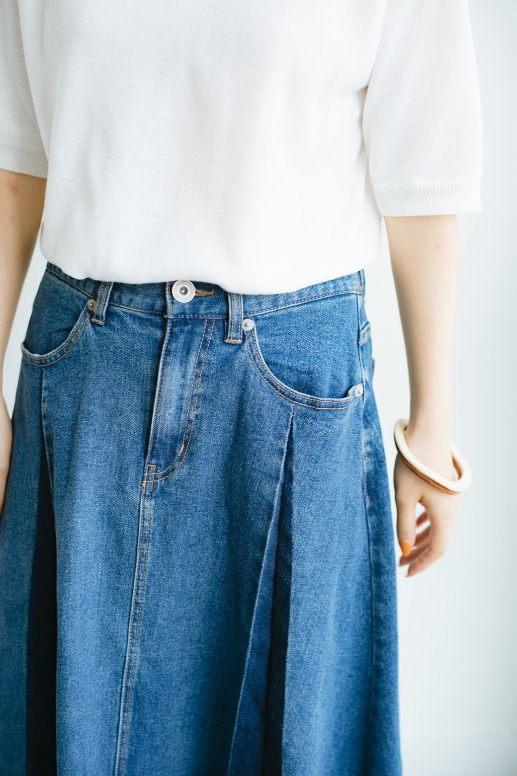 haco! 【新色登場&再入荷!】デニムパネルプリーツスカート <ブルー>の商品写真5
