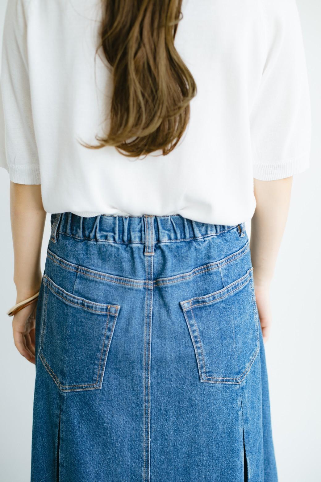 haco! 【新色登場&再入荷!】デニムパネルプリーツスカート <ブルー>の商品写真6