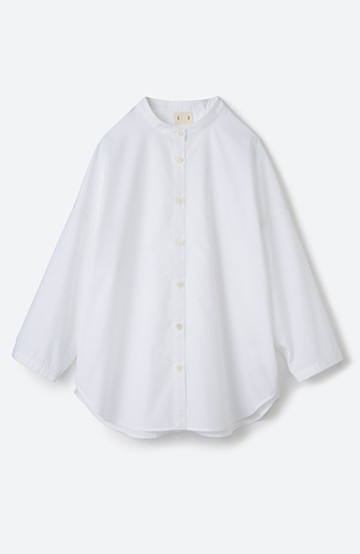 haco! 【あまる肩幅党】肩幅広めがなんのその! きちんと見えて肩まわりゆったりの定番スタンドカラーシャツ <ホワイト>の商品写真