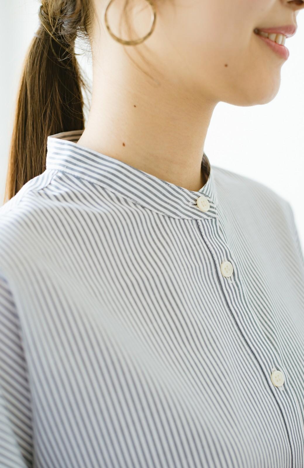 haco! 【あまる肩幅党】肩幅広めがなんのその! きちんと見えて肩まわりゆったりの定番スタンドカラーシャツ <ストライプ>の商品写真4