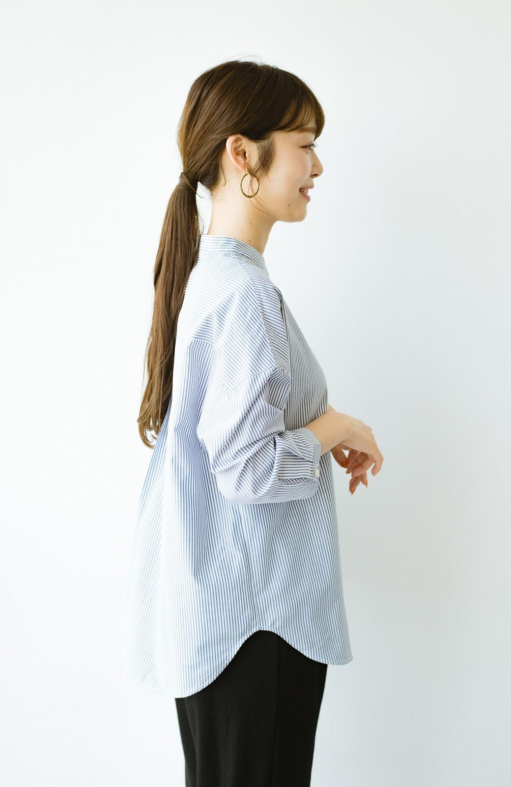 haco! 【あまる肩幅党】肩幅広めがなんのその! きちんと見えて肩まわりゆったりの定番スタンドカラーシャツ <ストライプ>の商品写真16