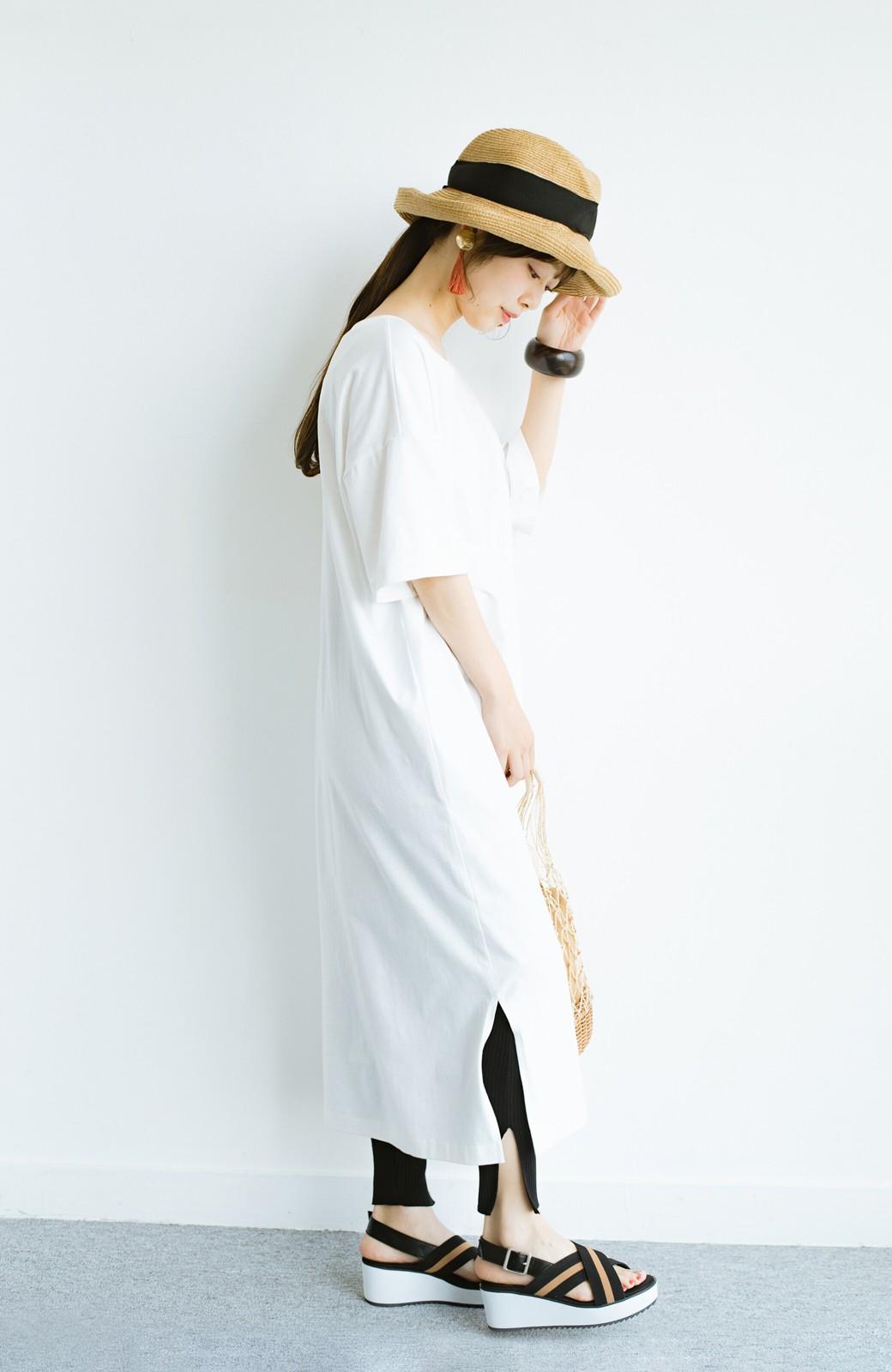 haco! 【ずぼら党】すぽっと着るだけ即完成! ずぼらさんのための気取らず着られて洗濯機洗いできるワンピ2枚セット <ホワイト×ネイビー>の商品写真16
