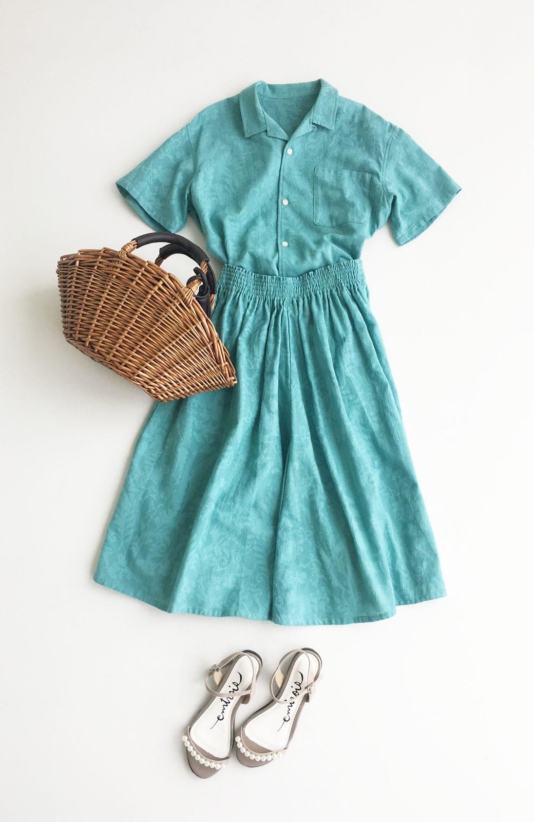 haco! 【今年も再販!】京都の浴衣屋さんと作った浴衣生地のシャツ <グリーン>の商品写真1