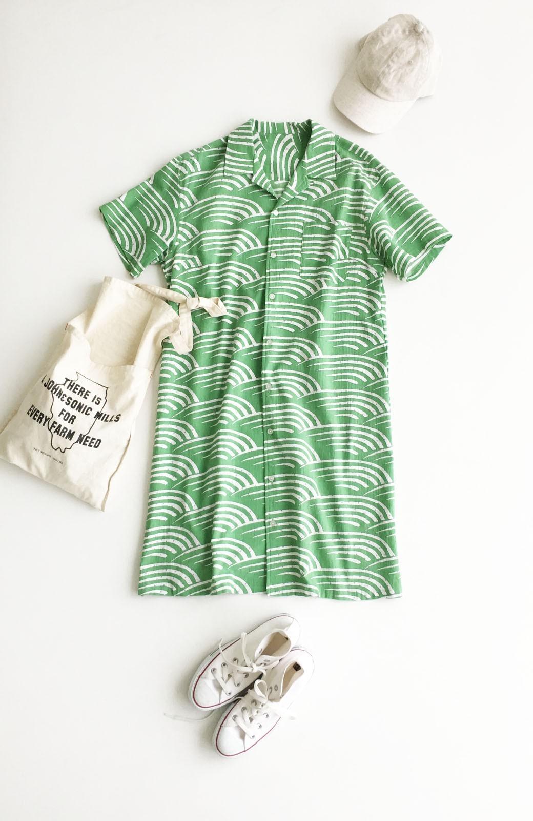 haco! 京都の浴衣屋さんと作った浴衣生地のシャツワンピース <グリーン>の商品写真8