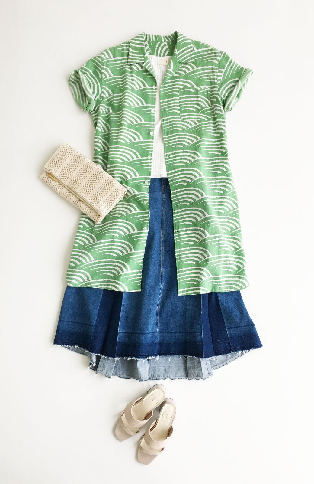 haco! 京都の浴衣屋さんと作った浴衣生地のシャツワンピース <グリーン>の商品写真7