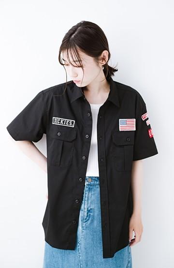 haco! Dickies TCツイルワッペン付きルーズフィット半袖ワークシャツ <ブラック>の商品写真