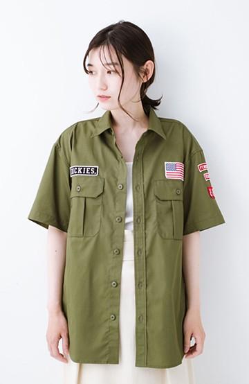 haco! Dickies TCツイルワッペン付きルーズフィット半袖ワークシャツ <オリーブ>の商品写真
