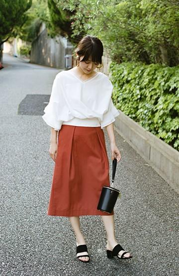 haco! 【洗濯機洗いOK】ボタンがポイントのカジュアルにもきれいにもはけるセミタイトスカート <オレンジ>の商品写真