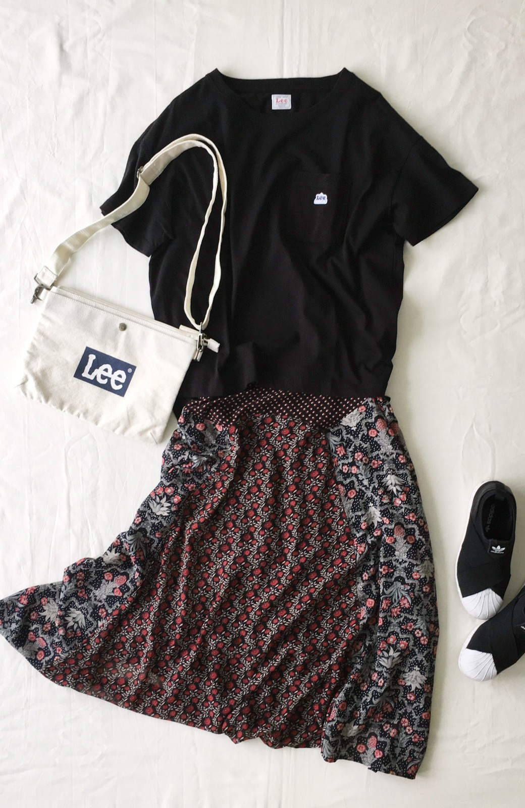 haco! 【洗濯機洗いOK】シンプルなトップスに合わせるだけでかわいくなれる MIX柄スカート <ブラック系その他>の商品写真15