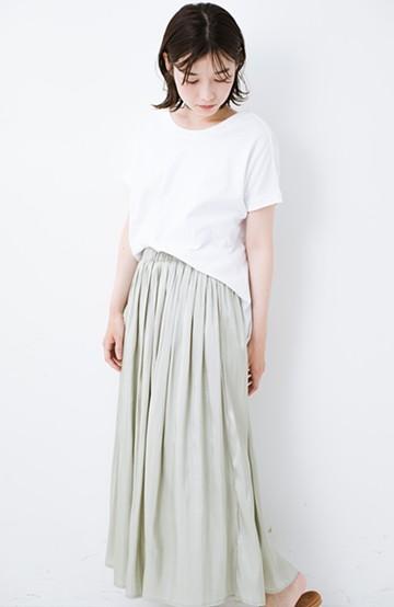 haco! 【人気のため新色追加!】1枚でも重ね着にも便利なキラキラ素材がかわいいロングスカート by laulea <グリーン>の商品写真