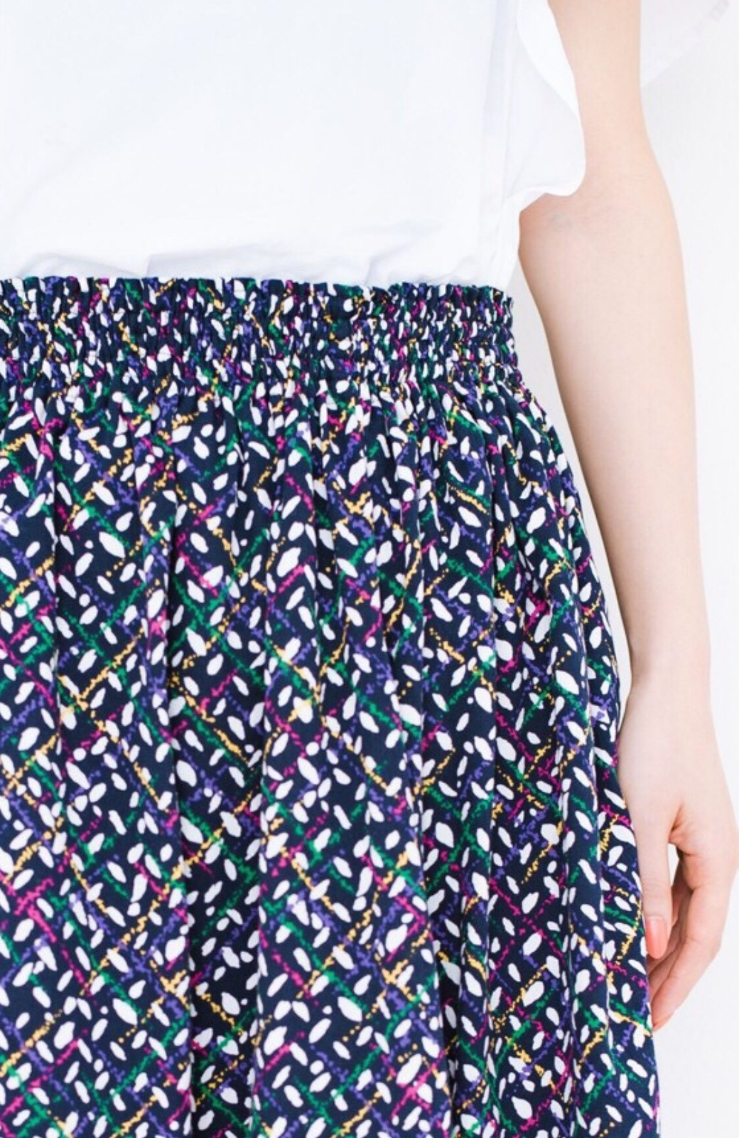 haco! 【コラボ3年目!】京都の浴衣屋さんと作った浴衣生地のスカート <ネイビー>の商品写真5