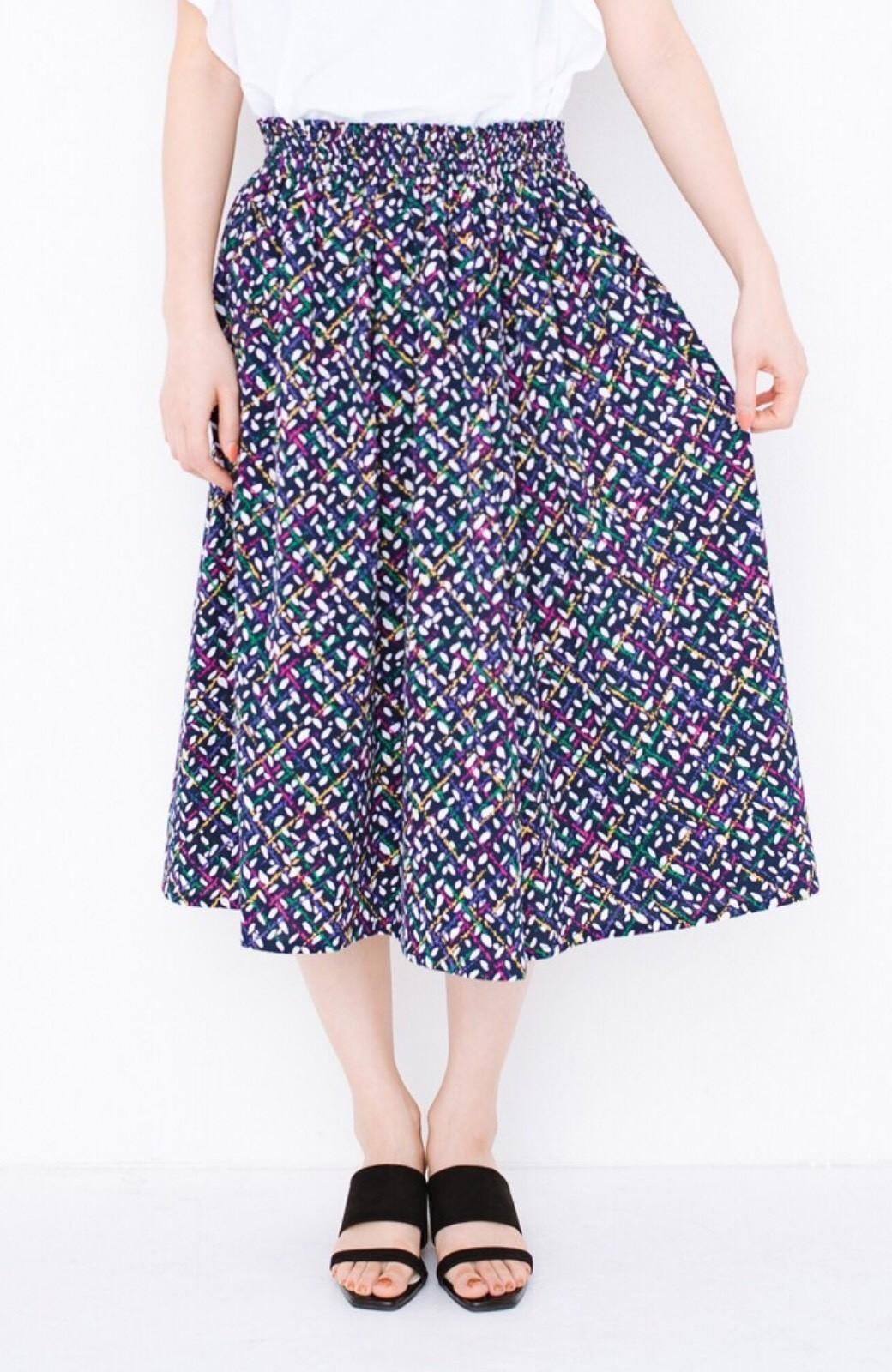 haco! 【コラボ3年目!】京都の浴衣屋さんと作った浴衣生地のスカート <ネイビー>の商品写真2