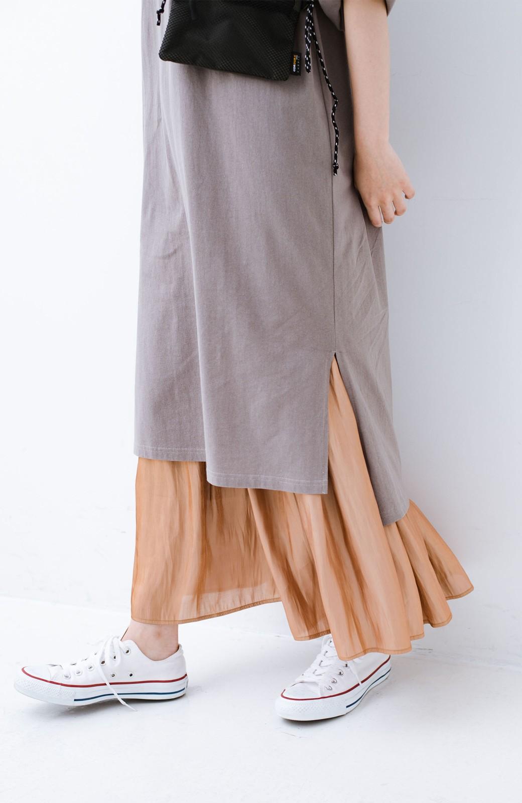 haco! 1枚でも重ね着にも便利なキラキラ素材がかわいいロングスカート by laulea <ライトブラウン>の商品写真5