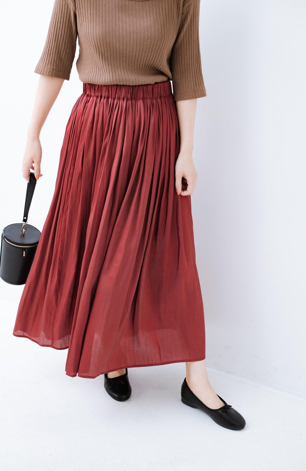 haco! 【人気のため新色追加!】1枚でも重ね着にも便利なキラキラ素材がかわいいロングスカート by laulea <ボルドー>の商品写真2