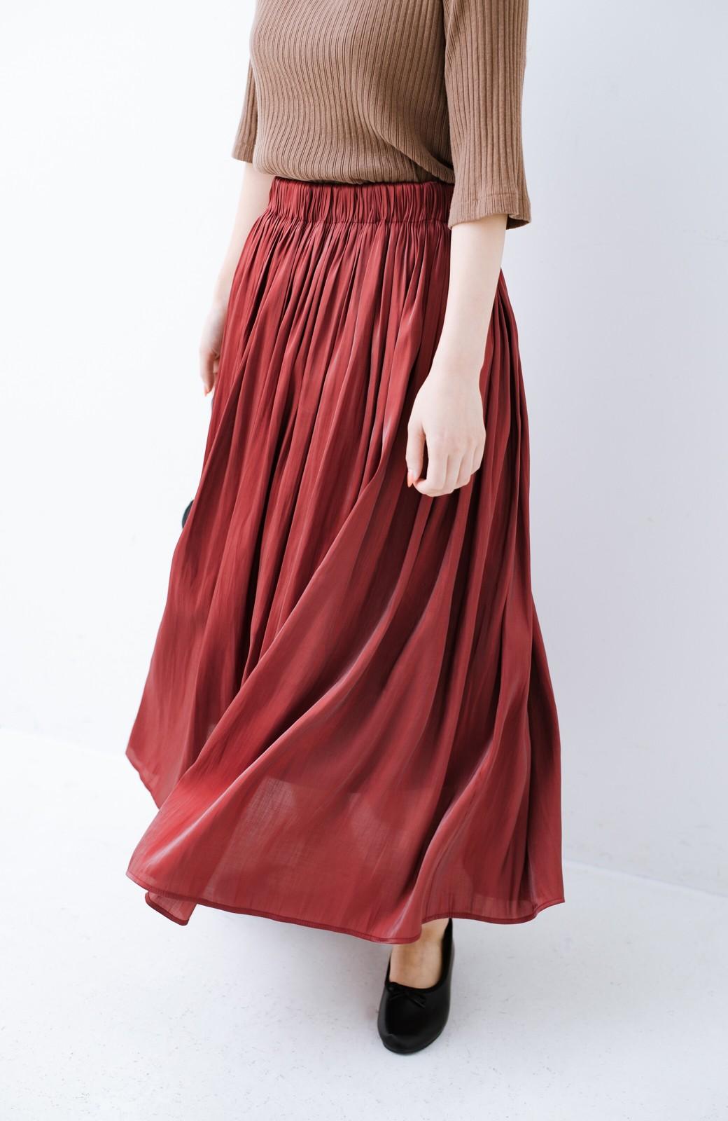haco! 【人気のため新色追加!】1枚でも重ね着にも便利なキラキラ素材がかわいいロングスカート by laulea <ボルドー>の商品写真3
