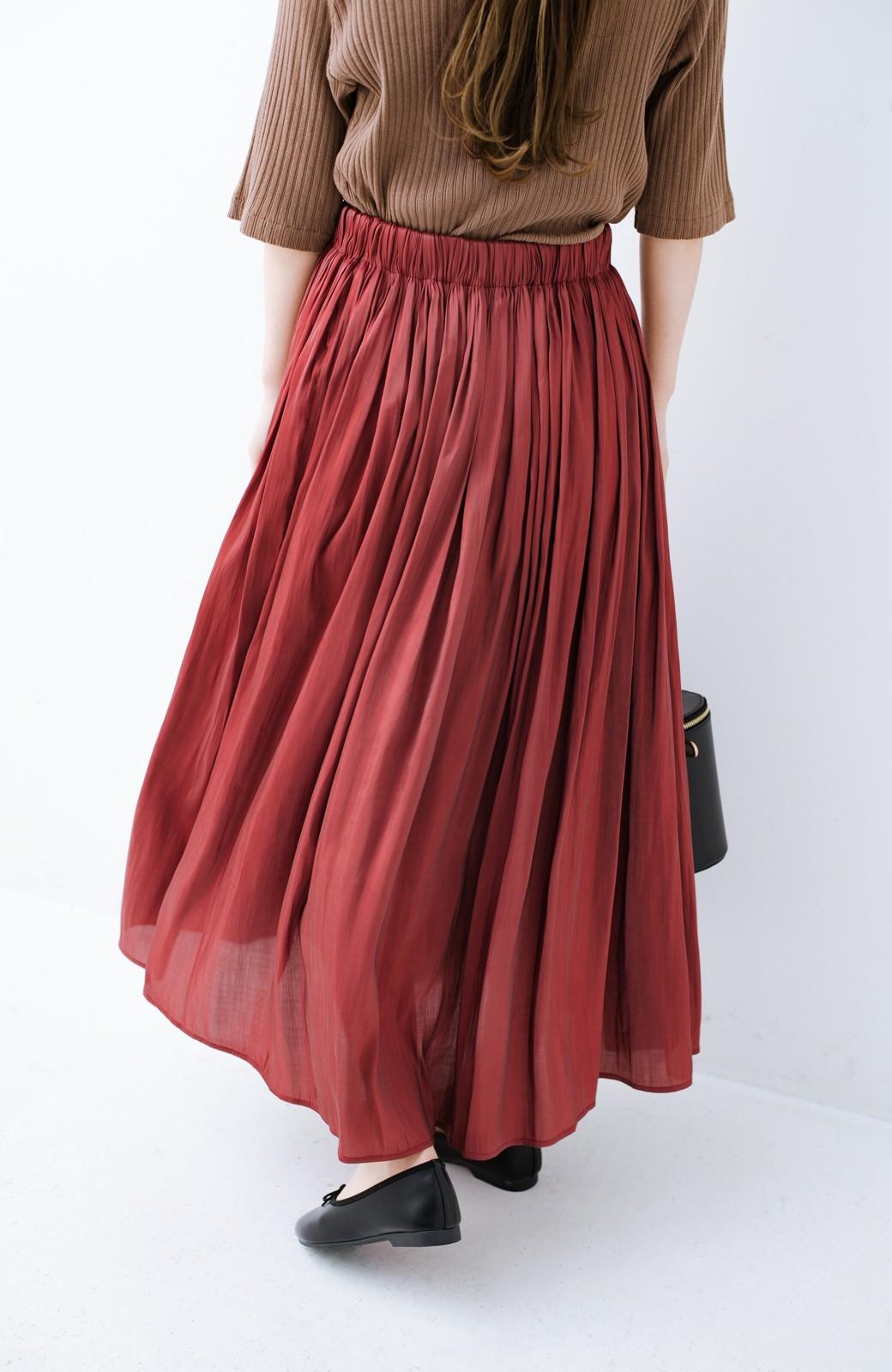 haco! 【人気のため新色追加!】1枚でも重ね着にも便利なキラキラ素材がかわいいロングスカート by laulea <ボルドー>の商品写真5