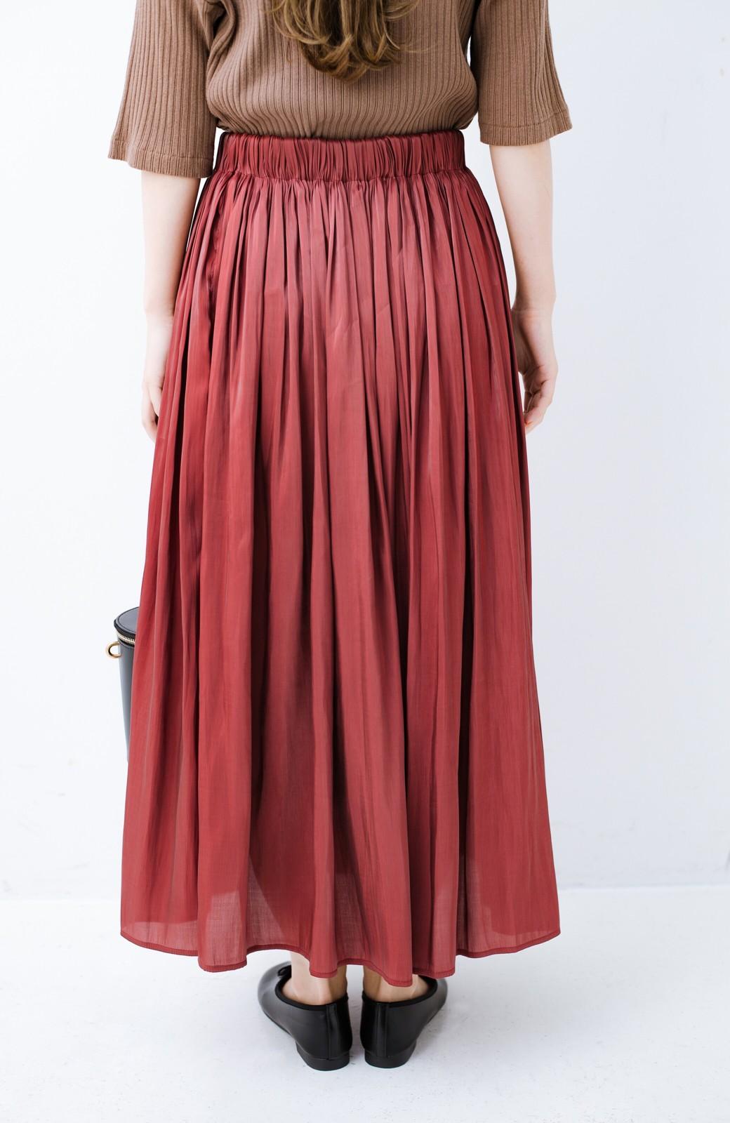 haco! 【人気のため新色追加!】1枚でも重ね着にも便利なキラキラ素材がかわいいロングスカート by laulea <ボルドー>の商品写真6
