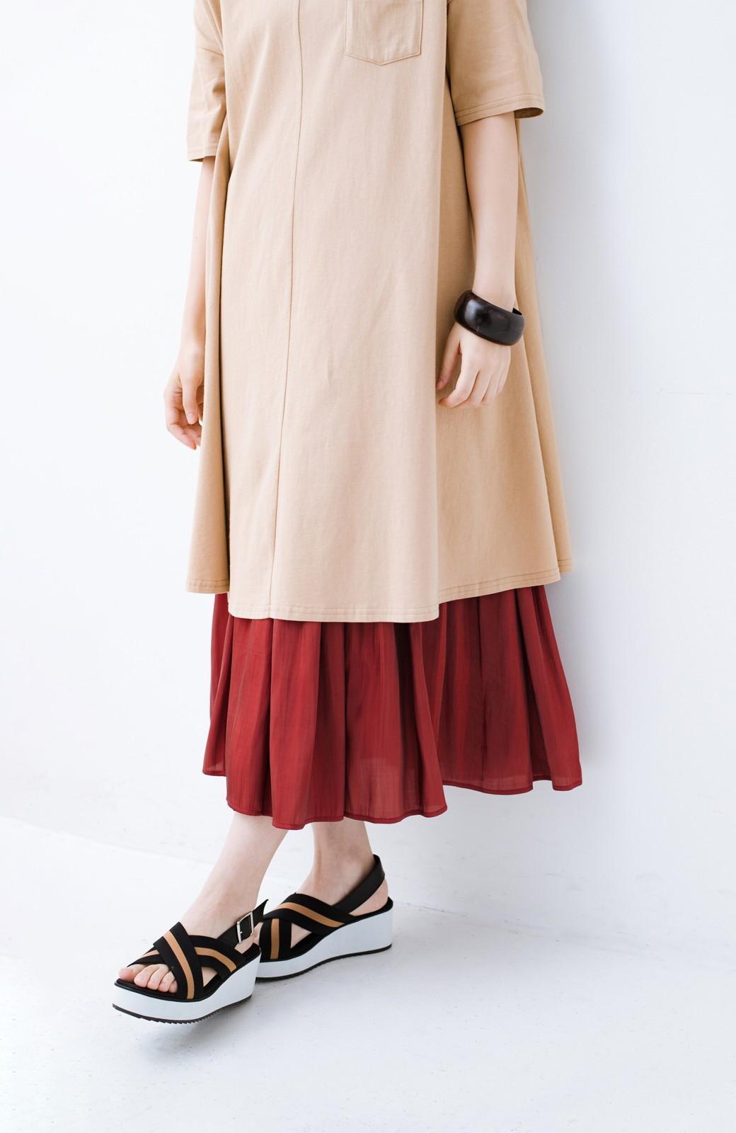 haco! 【人気のため新色追加!】1枚でも重ね着にも便利なキラキラ素材がかわいいロングスカート by laulea <ボルドー>の商品写真10