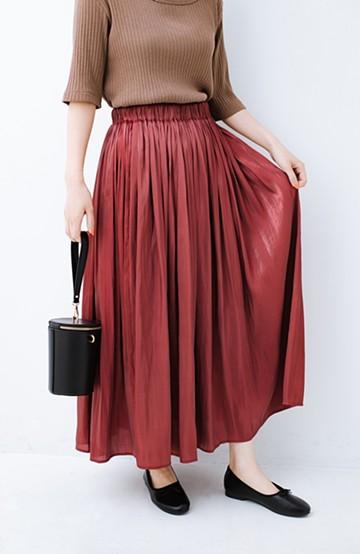 haco! 【人気のため新色追加!】1枚でも重ね着にも便利なキラキラ素材がかわいいロングスカート by laulea <ボルドー>の商品写真