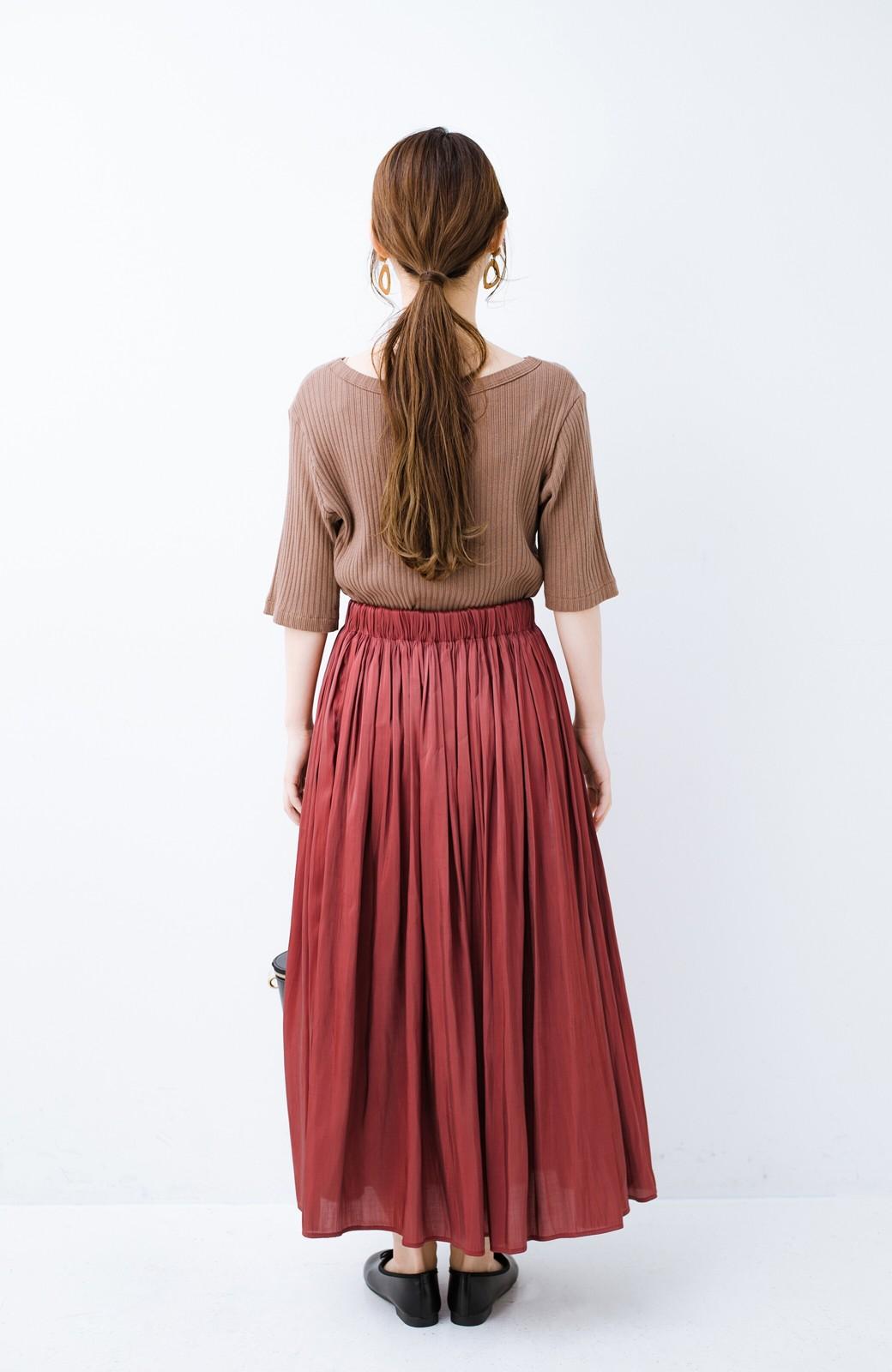 haco! 【人気のため新色追加!】1枚でも重ね着にも便利なキラキラ素材がかわいいロングスカート by laulea <ボルドー>の商品写真19