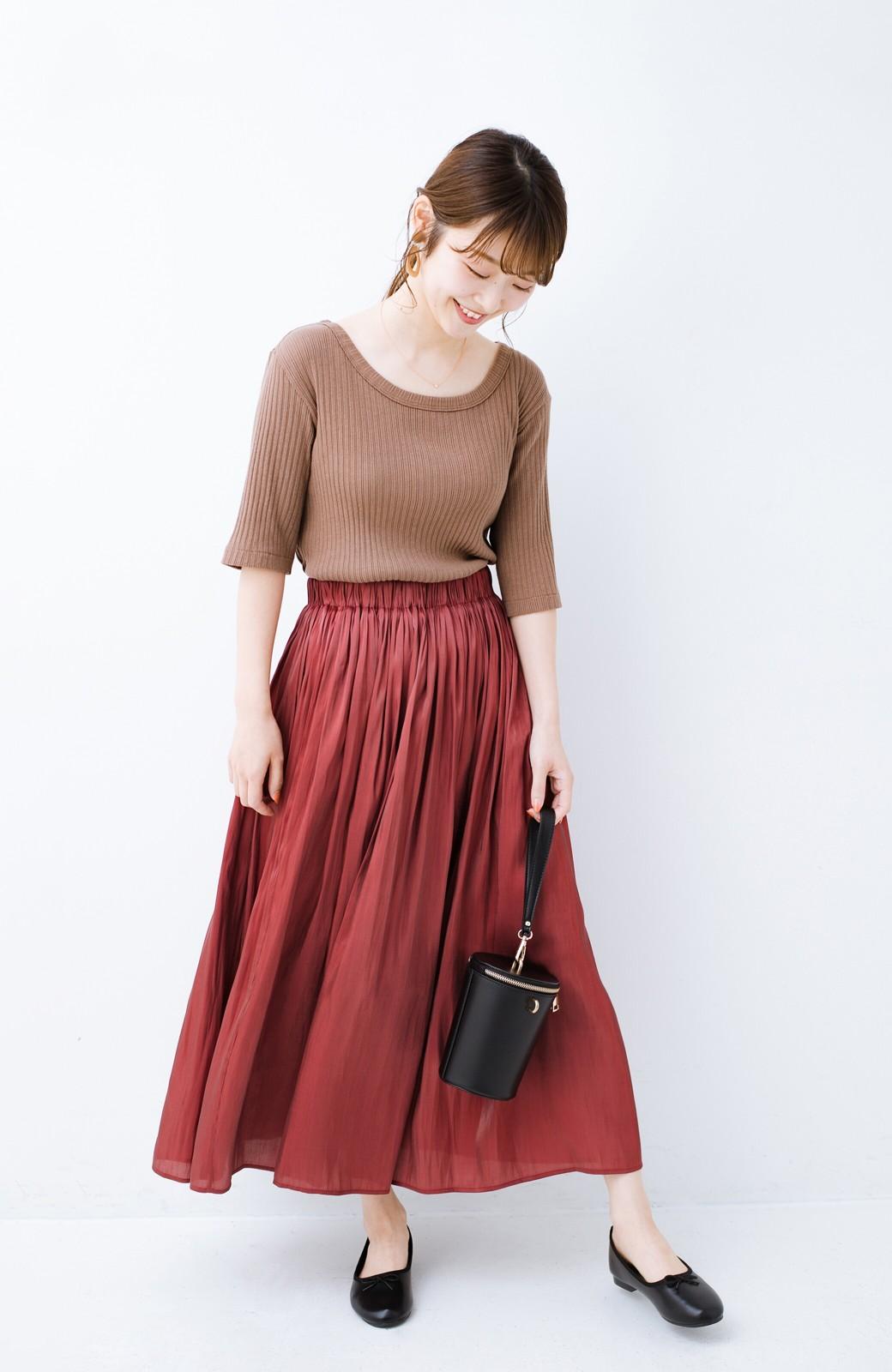 haco! 【人気のため新色追加!】1枚でも重ね着にも便利なキラキラ素材がかわいいロングスカート by laulea <ボルドー>の商品写真12