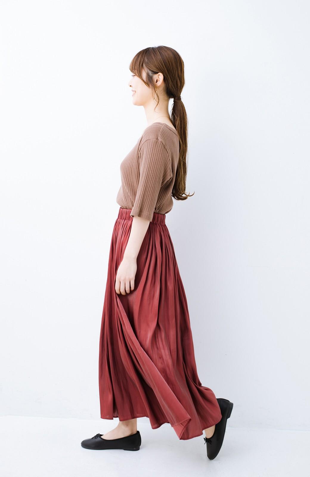 haco! 【人気のため新色追加!】1枚でも重ね着にも便利なキラキラ素材がかわいいロングスカート by laulea <ボルドー>の商品写真16