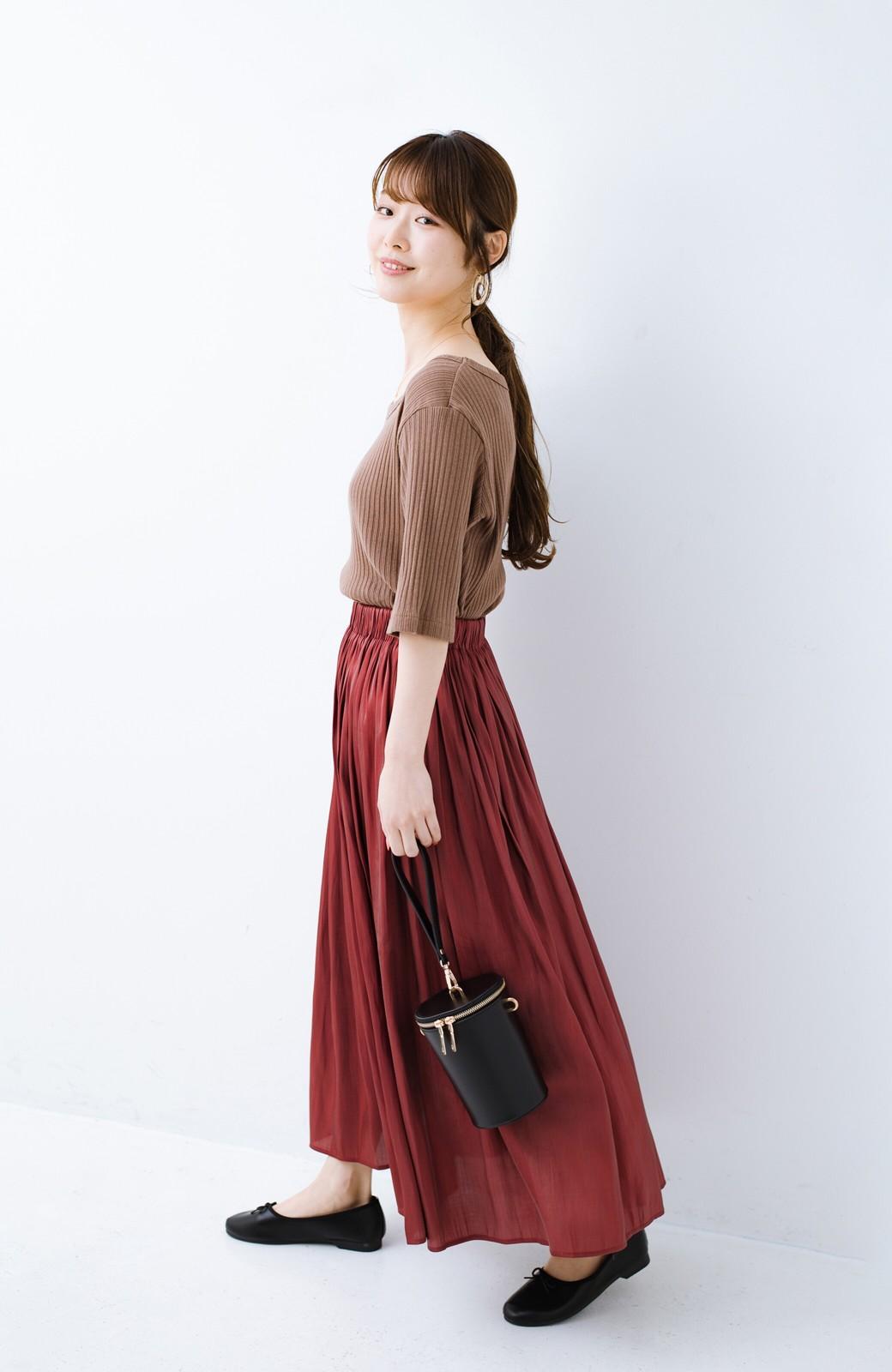 haco! 【人気のため新色追加!】1枚でも重ね着にも便利なキラキラ素材がかわいいロングスカート by laulea <ボルドー>の商品写真17