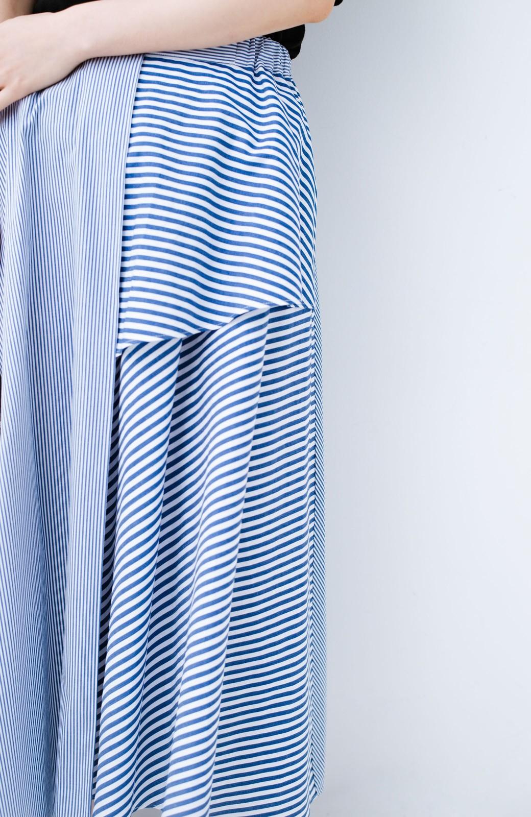 haco! 上半身から視線そらし!胸が大きいさんのためのコーデの主役になるストライプパネルスカート from チャームポイント敬愛企画 <ブルー系その他>の商品写真9