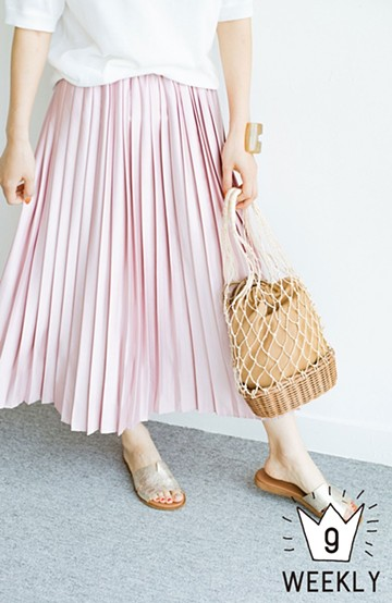 haco! 残りSサイズとMサイズのみになりました!【加齢党】大人たちを艶やかに華やかにすっきり見せてくれる 褒められプリーツスカート <ピンク>の商品写真