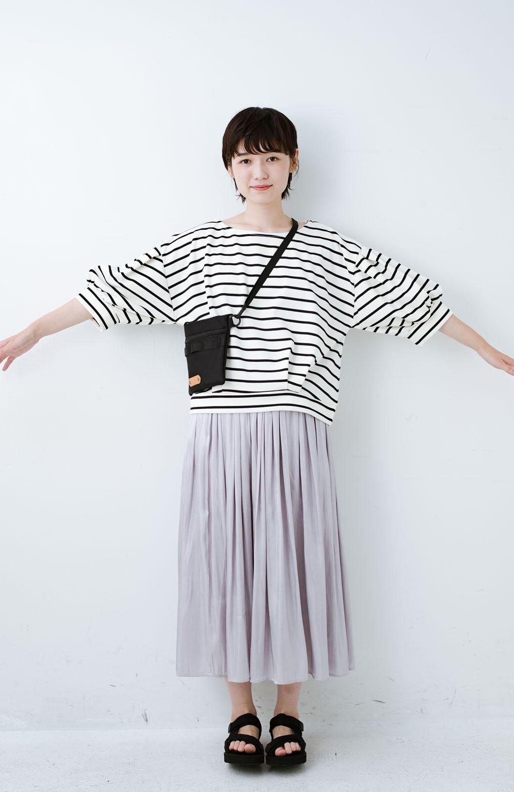haco! ぷっくり袖ボーダートップス <ホワイト×ブラック>の商品写真7