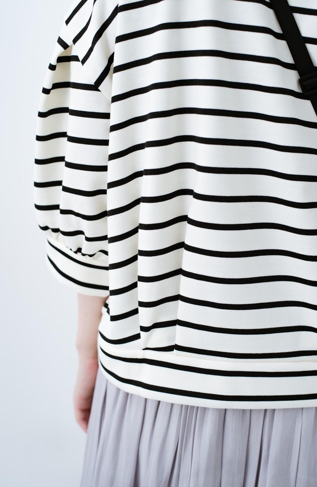haco! ぷっくり袖ボーダートップス <ホワイト×ブラック>の商品写真6
