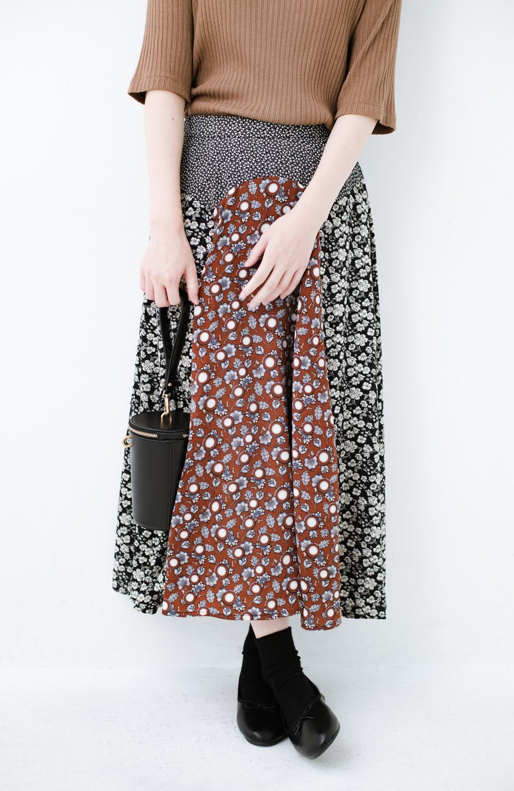 haco! 【洗濯機洗いOK】シンプルなトップスに合わせるだけでかわいくなれる MIX柄スカート <ブラックミックス>の商品写真5