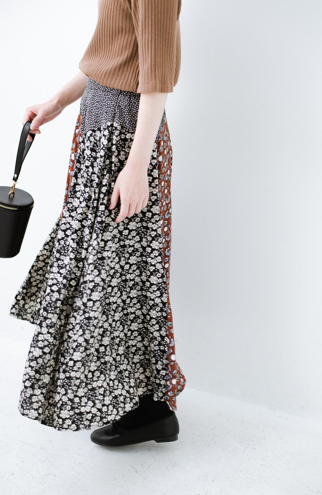 haco! 【洗濯機洗いOK】シンプルなトップスに合わせるだけでかわいくなれる MIX柄スカート <ブラックミックス>の商品写真6