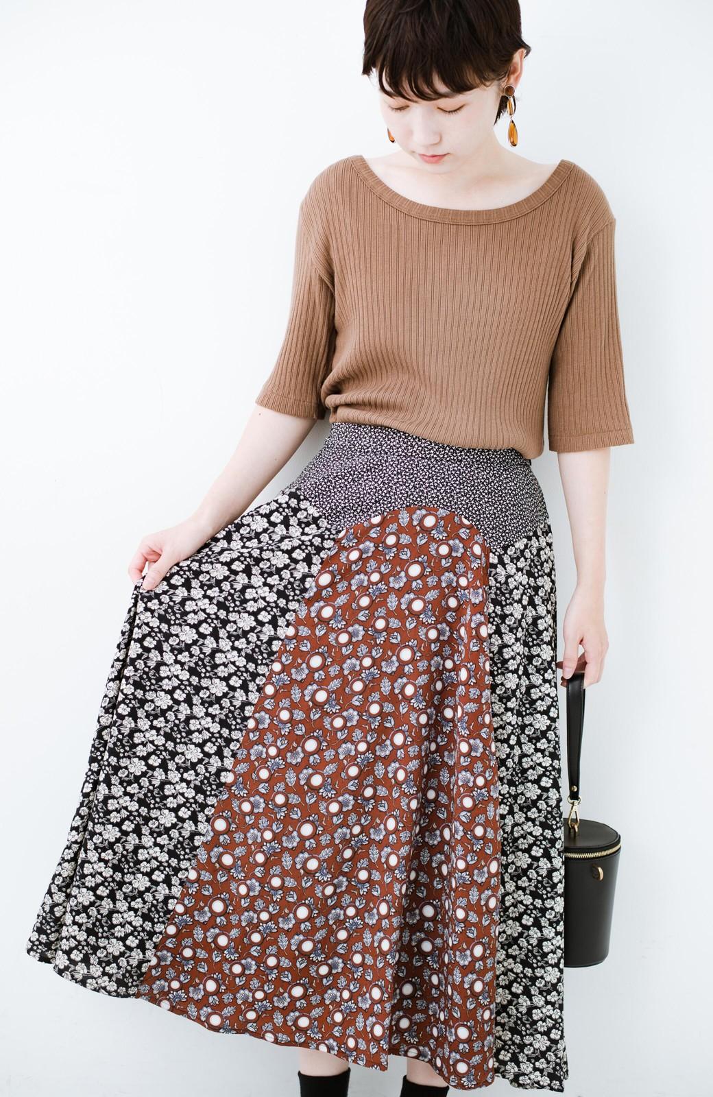 haco! 【洗濯機洗いOK】シンプルなトップスに合わせるだけでかわいくなれる MIX柄スカート <ブラックミックス>の商品写真17