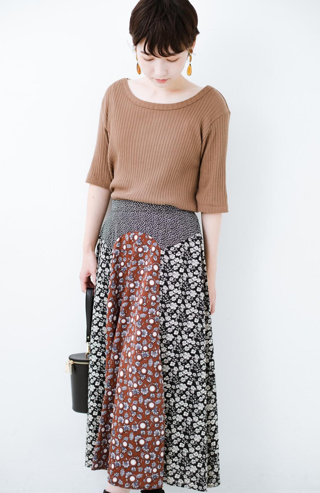 haco! 【洗濯機洗いOK】シンプルなトップスに合わせるだけでかわいくなれる MIX柄スカート <ブラックミックス>の商品写真18