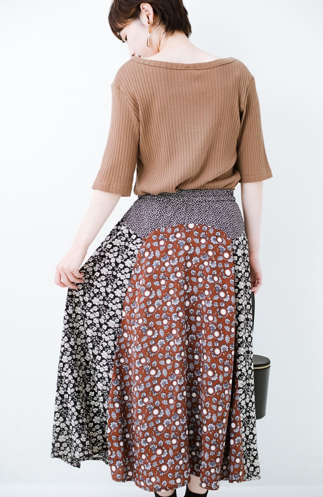 haco! 【洗濯機洗いOK】シンプルなトップスに合わせるだけでかわいくなれる MIX柄スカート <ブラックミックス>の商品写真19
