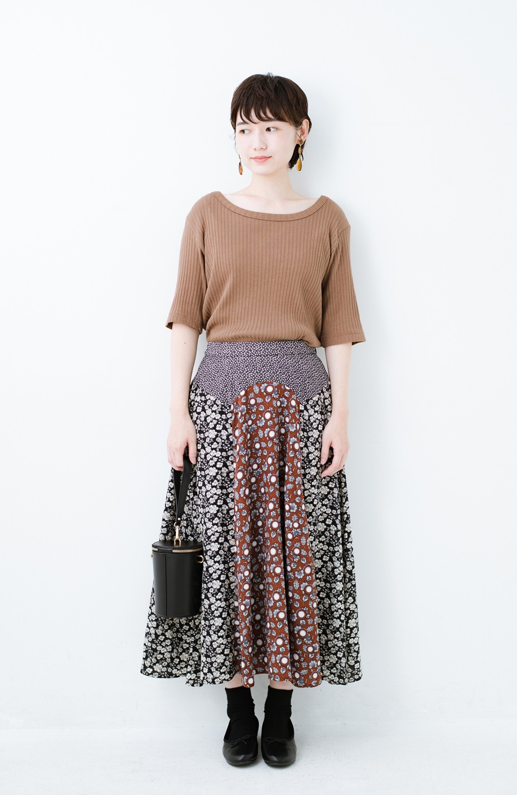 haco! 【洗濯機洗いOK】シンプルなトップスに合わせるだけでかわいくなれる MIX柄スカート <ブラックミックス>の商品写真11