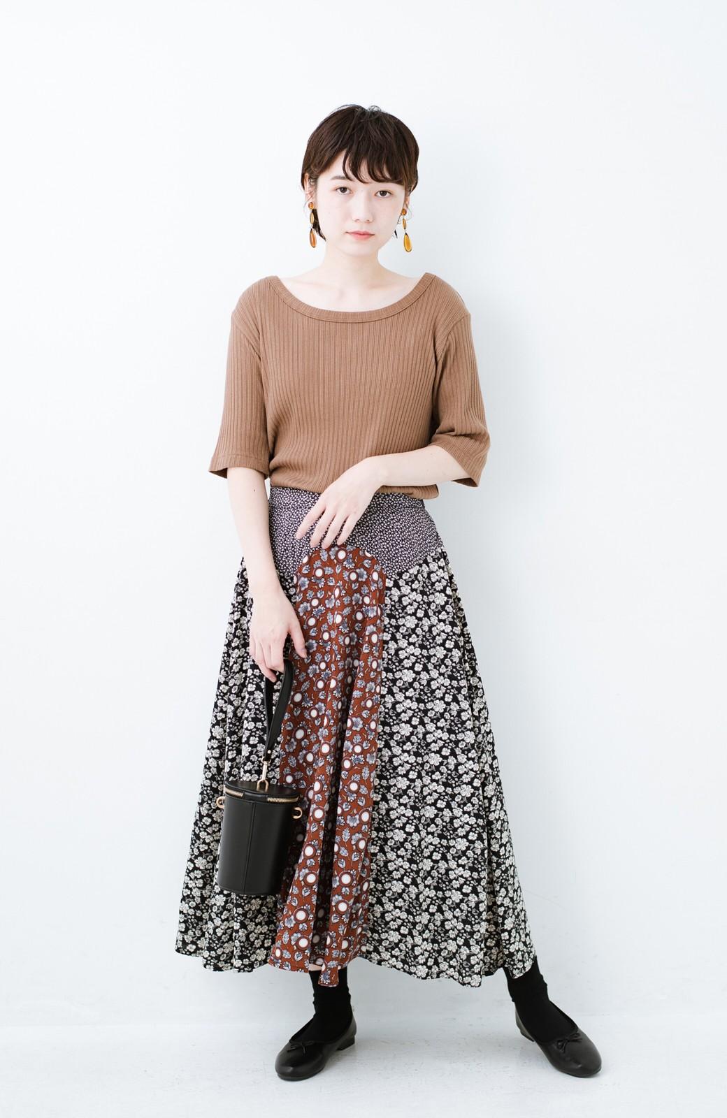 haco! 【洗濯機洗いOK】シンプルなトップスに合わせるだけでかわいくなれる MIX柄スカート <ブラックミックス>の商品写真12