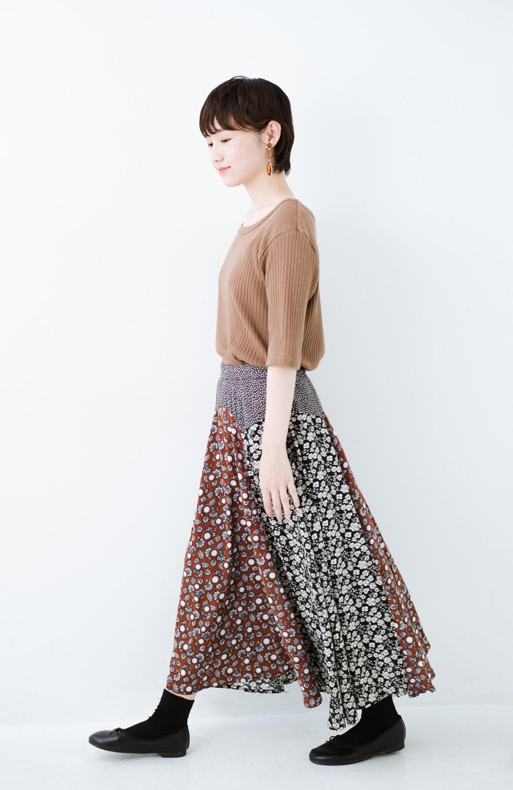 haco! 【洗濯機洗いOK】シンプルなトップスに合わせるだけでかわいくなれる MIX柄スカート <ブラックミックス>の商品写真14