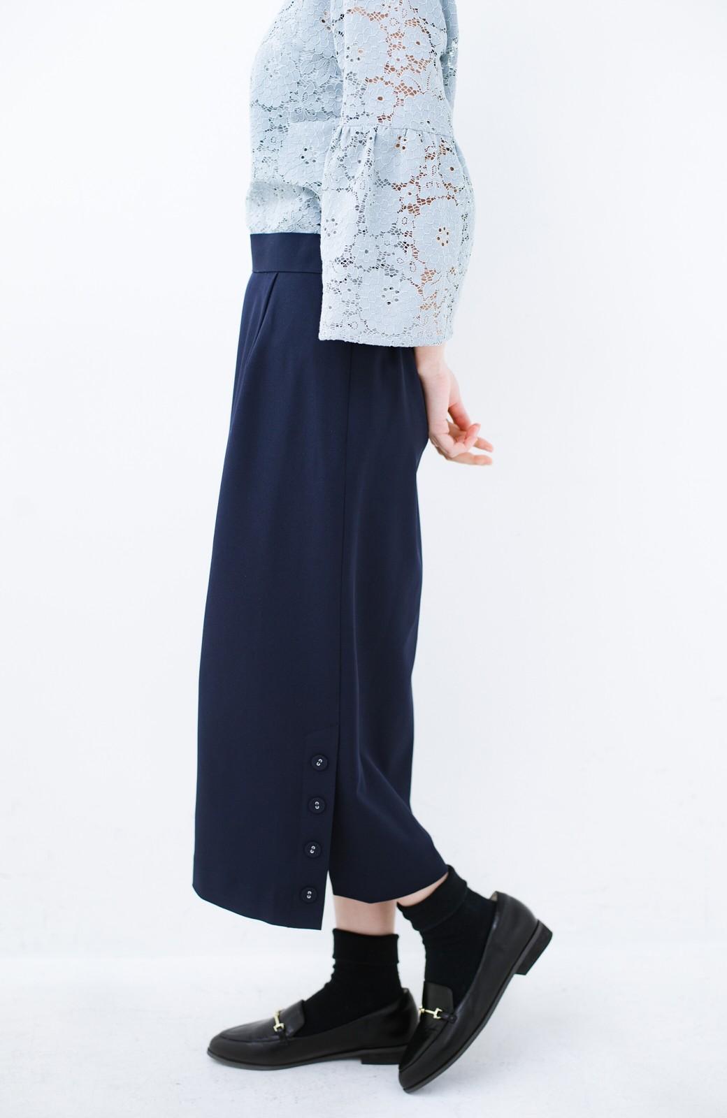 haco! 持っていると便利な 野暮ったくならないきれいめタイトスカート <ダークネイビー>の商品写真4