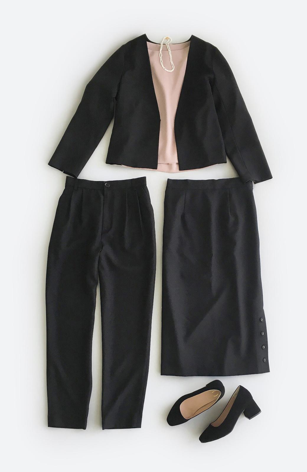 haco! 持っていると便利な野暮ったくならないフォーマルジャケット・パンツ・スカートの3点セット <ブラック>の商品写真1