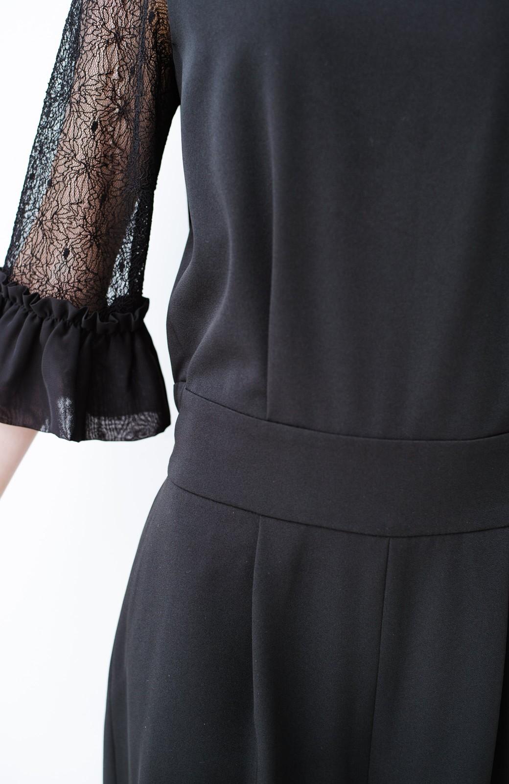 haco! 結婚式や二次会に便利!背が小さいさんもバランスよく着られる きちんと見えて楽ちんなオトナっぽオールインワン <ブラック>の商品写真17