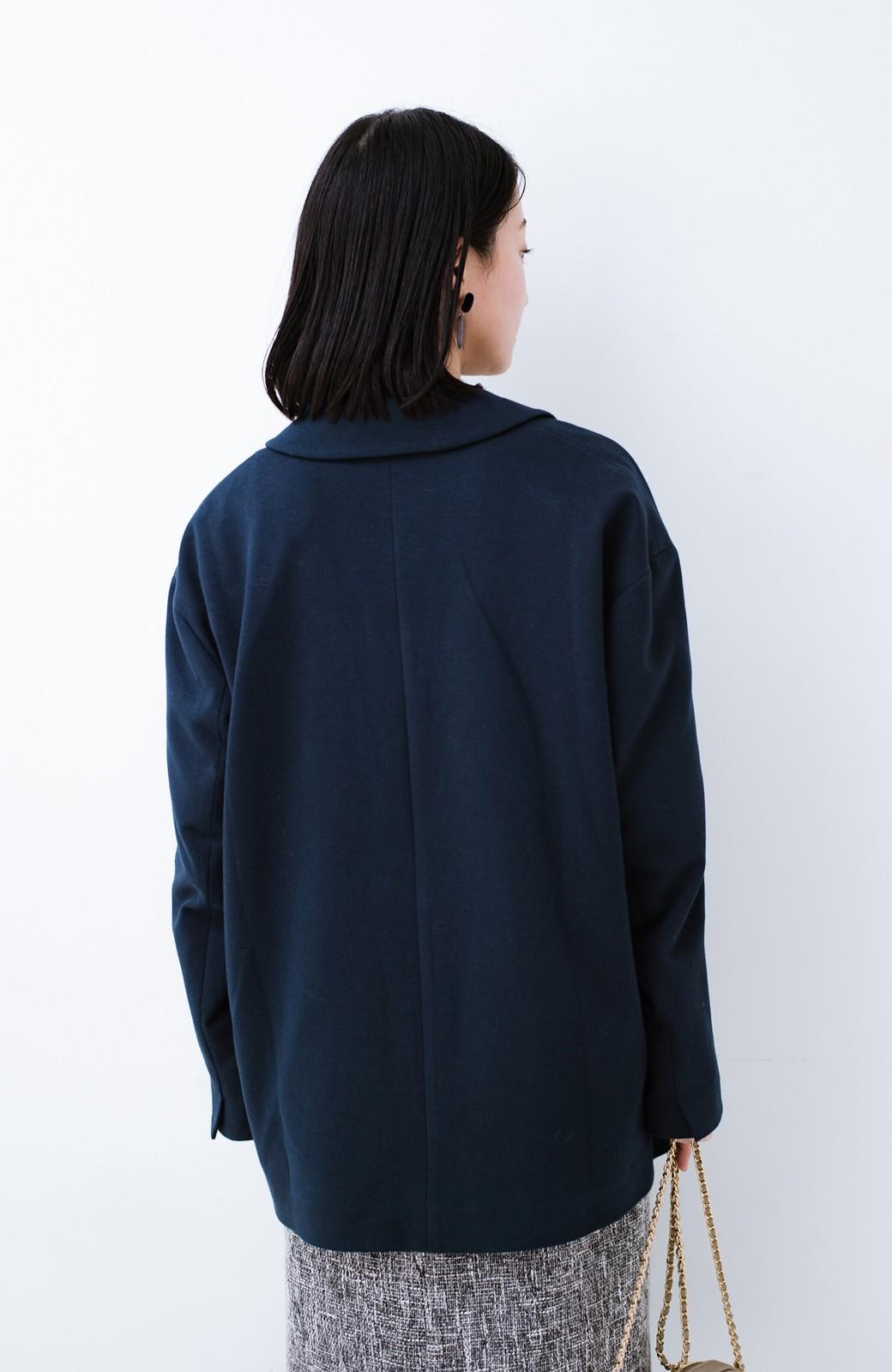 haco! Tシャツに羽織ってもきちんと見える!ゆるシルエットが楽ちんなカットソージャケット <ネイビー>の商品写真18
