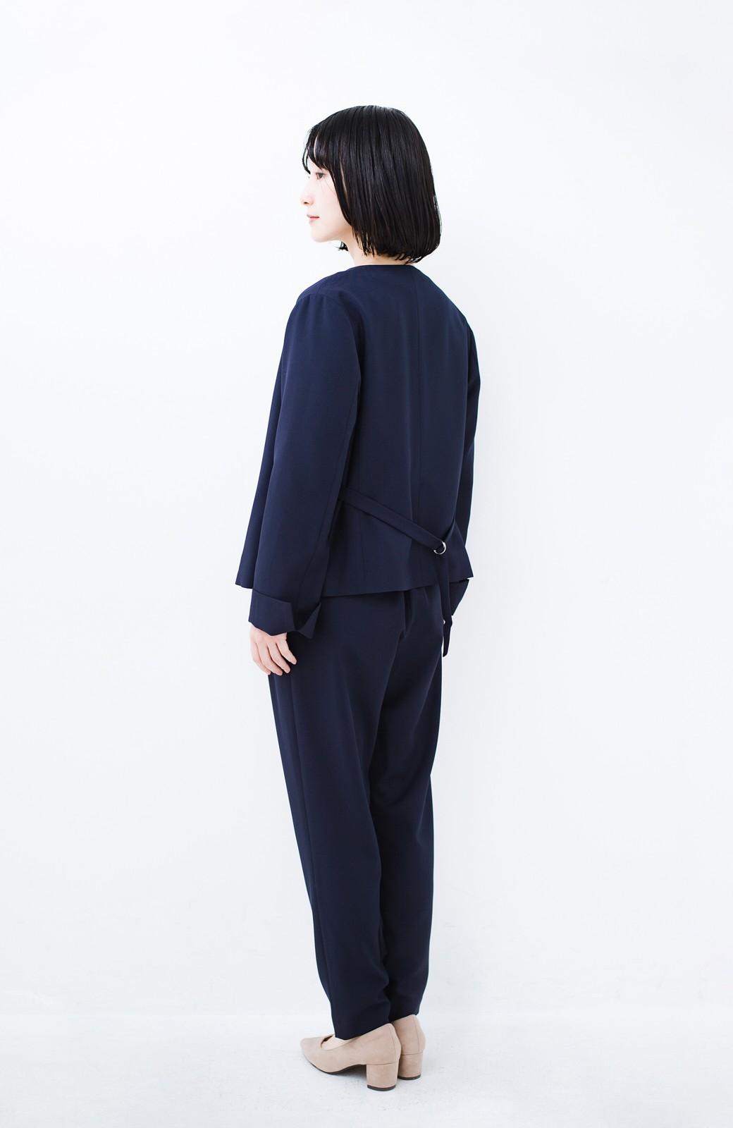 haco! 持っていると便利な野暮ったくならないフォーマルジャケット・パンツ・スカートの3点セット <ダークネイビー>の商品写真11