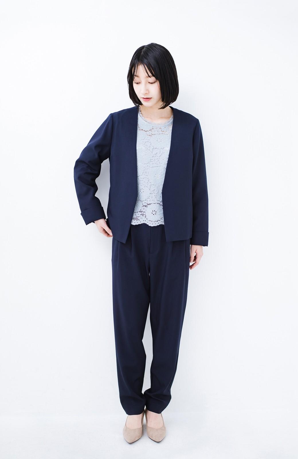 haco! 持っていると便利な野暮ったくならないフォーマルジャケット・パンツ・スカートの3点セット <ダークネイビー>の商品写真10