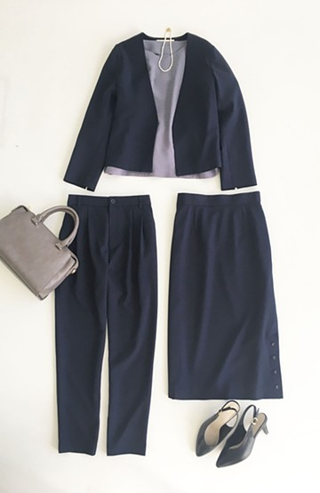 haco! 持っていると便利な野暮ったくならないフォーマルジャケット・パンツ・スカートの3点セット <ダークネイビー>の商品写真