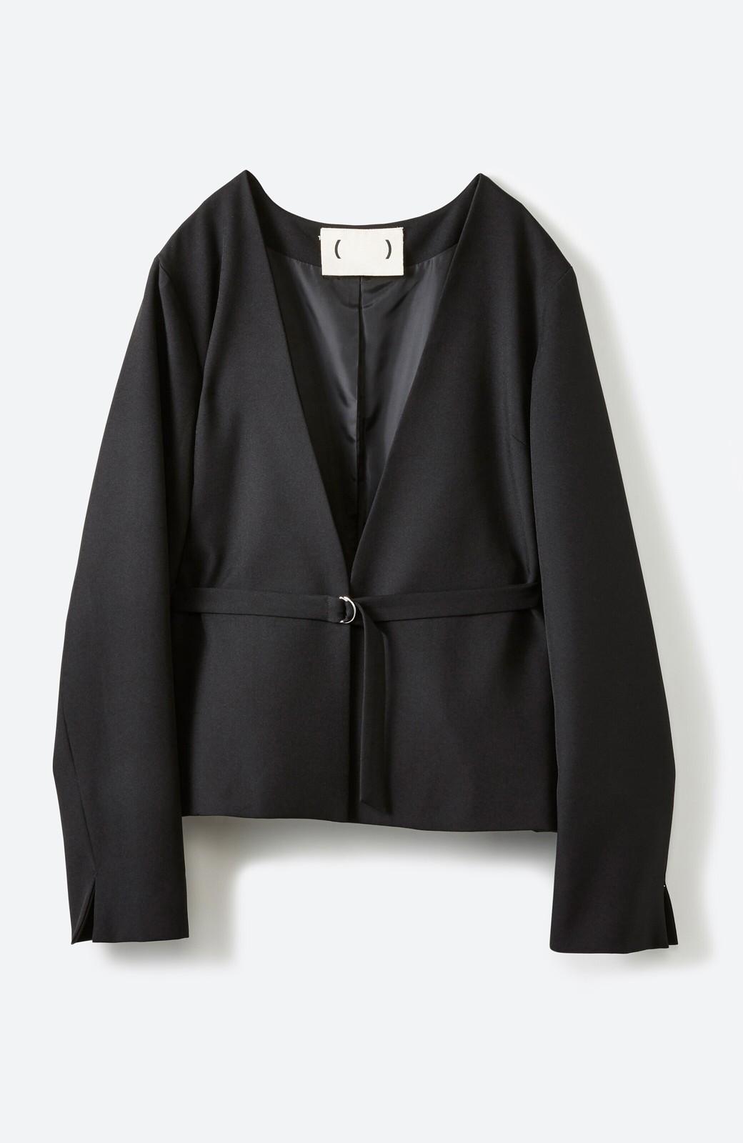 haco! 持っていると便利な野暮ったくならないフォーマルジャケット・スカートの2点セット <ブラック>の商品写真2