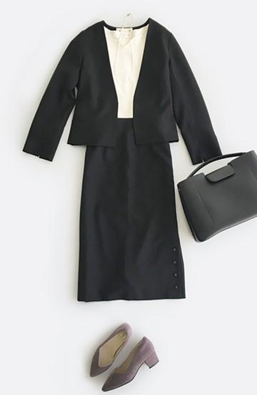 haco! 持っていると便利な野暮ったくならないフォーマルジャケット・スカートの2点セット <ブラック>の商品写真